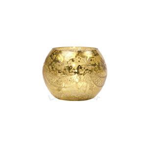 Gold Mercury Glass Votive Holder – Etched Globe