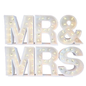 Marquee Letters – White Mr. & Mrs.