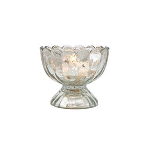 Silver Mercury Glass Tealight Holder – Sundae Cup
