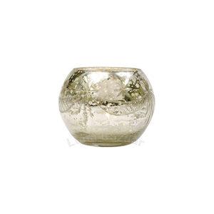 Silver Mercury Glass Votive Holder – Etched Globe