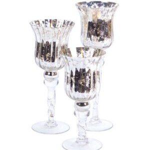 Silver Mercury Glass Stemmed Cup – 3 set